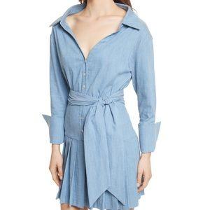Alice + Olivia Chambray Pleated Mini Shirtdress 10